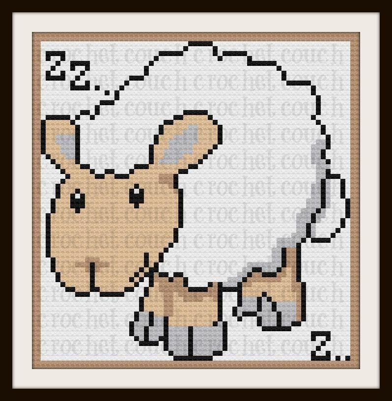 Sleepy Sheep Afghan, C2C Graph, Written Word Chart | crochet | Pinterest