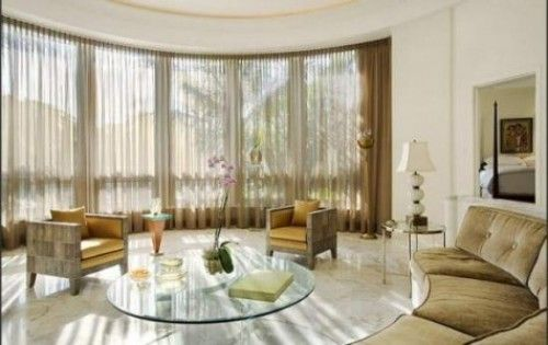 luxurious master living room interior with large window curtains