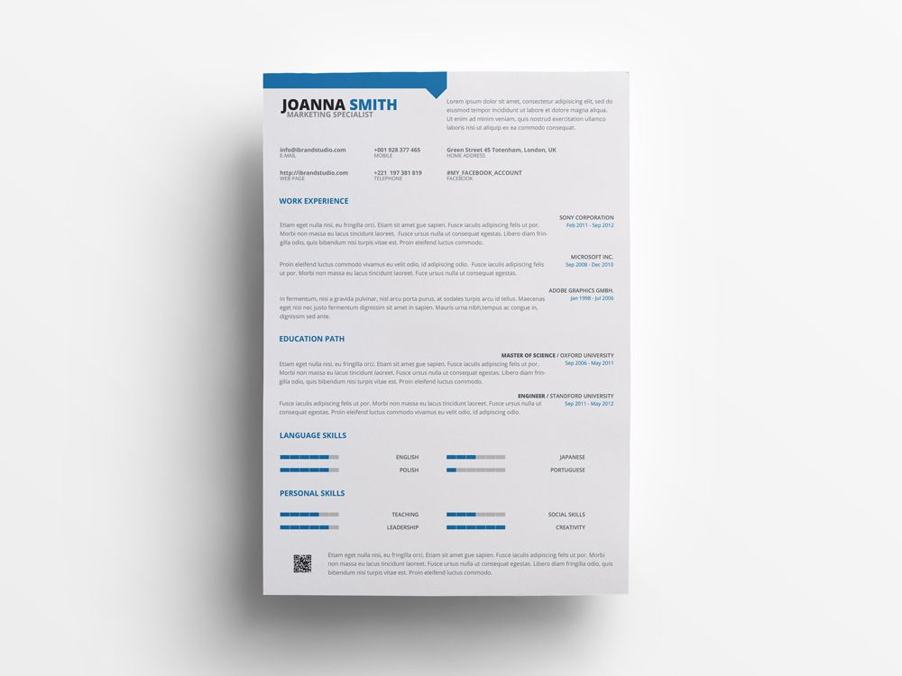 Free marketing specialist resume template in psd file