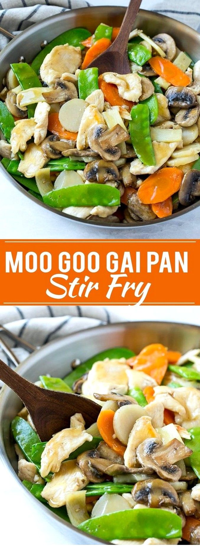 Moo Goo Gai Pan - boneless skinless chicken breasts, egg white, cornstarch (sub xanthan/glucomannan), vegetable oil (might sub another oil/fat), minced garlic, minced ginger, sliced mushrooms, snow peas, thinly sliced carrots, canned sliced water chestnuts