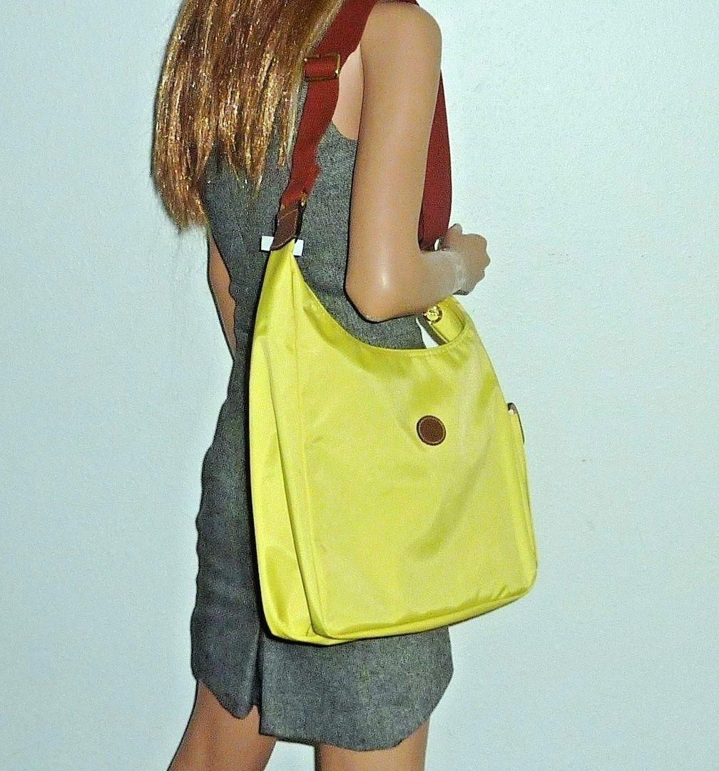 1ae1cd34a629 Longchamp Le Pliage Hobo Side Pocket Convertible Nylon New Yellow Lemon  Cross Body Bag. Get