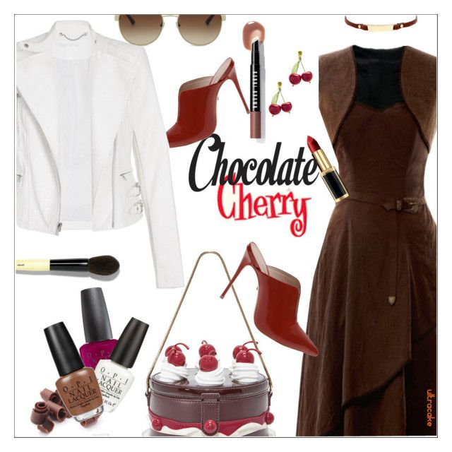 """Chocolate Cherry"" by ultracake ❤ liked on Polyvore featuring Kate Spade, TIKI, Bobbi Brown Cosmetics, OPI, Kenneth Cole, Bulgari, Yigal AzrouÃ«l, katespade, fashiontrend and statementbags"