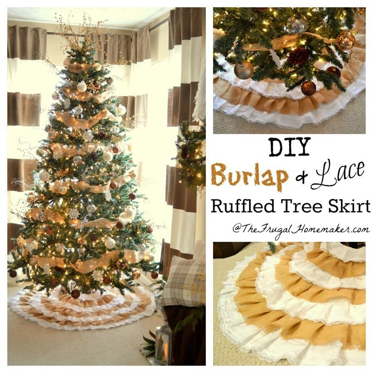 Diy burlap and lace christmas tree skirt holidays christmas diy burlap and lace christmas tree skirt solutioingenieria Image collections