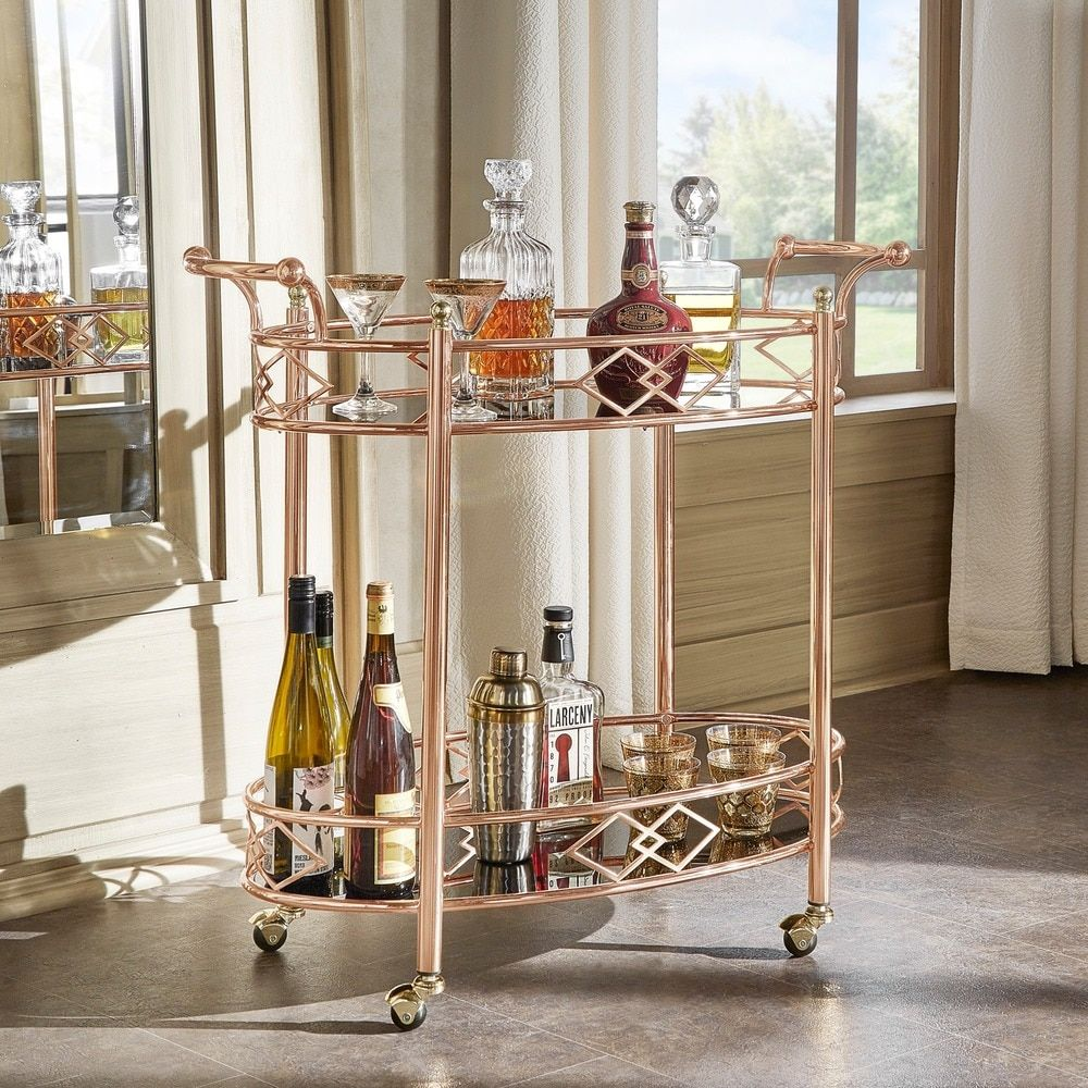 $170 Metropolitan Rose Gold Metal Mobile Bar Cart with Black Glass Top by  INSPIRE Q
