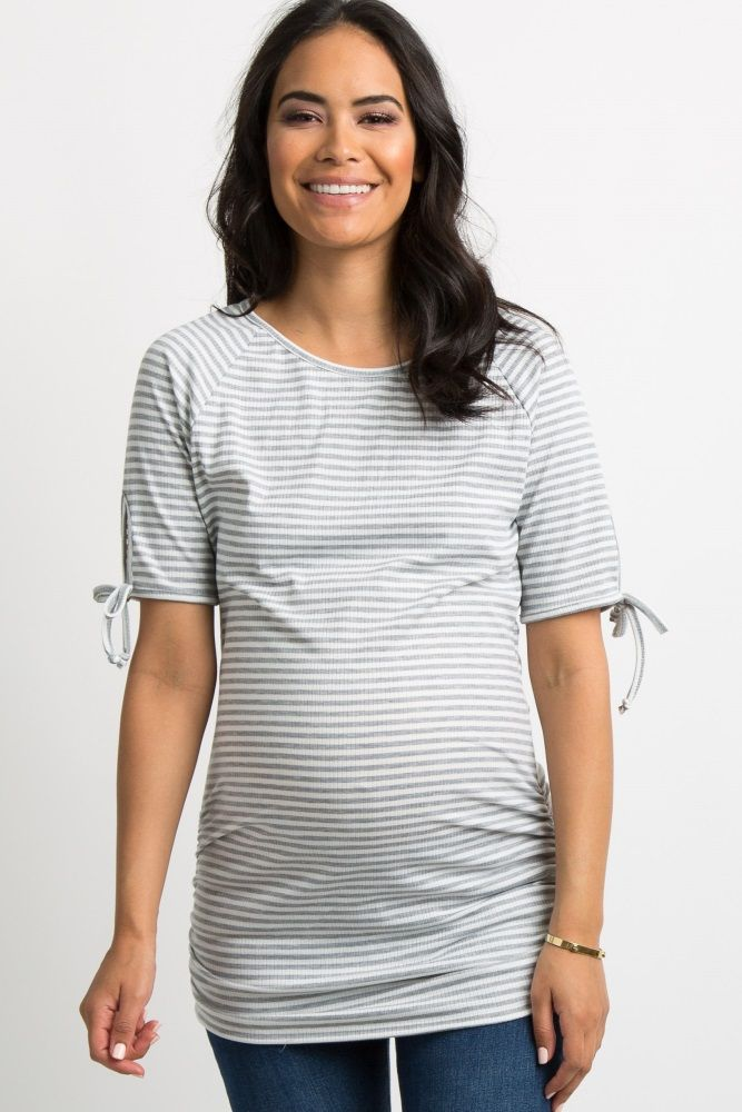 b140735086dd8 Grey Striped Sleeve Tie Fitted Maternity Tunic A striped print, ribbed  maternity tunic featuring short sleeves with a cutout tie accent, a rounded  neckline, ...