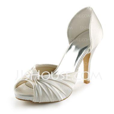 Women's Satin Cone Heel Peep Toe Platform Sandals With Bowknot (047005429) - JJsHouse