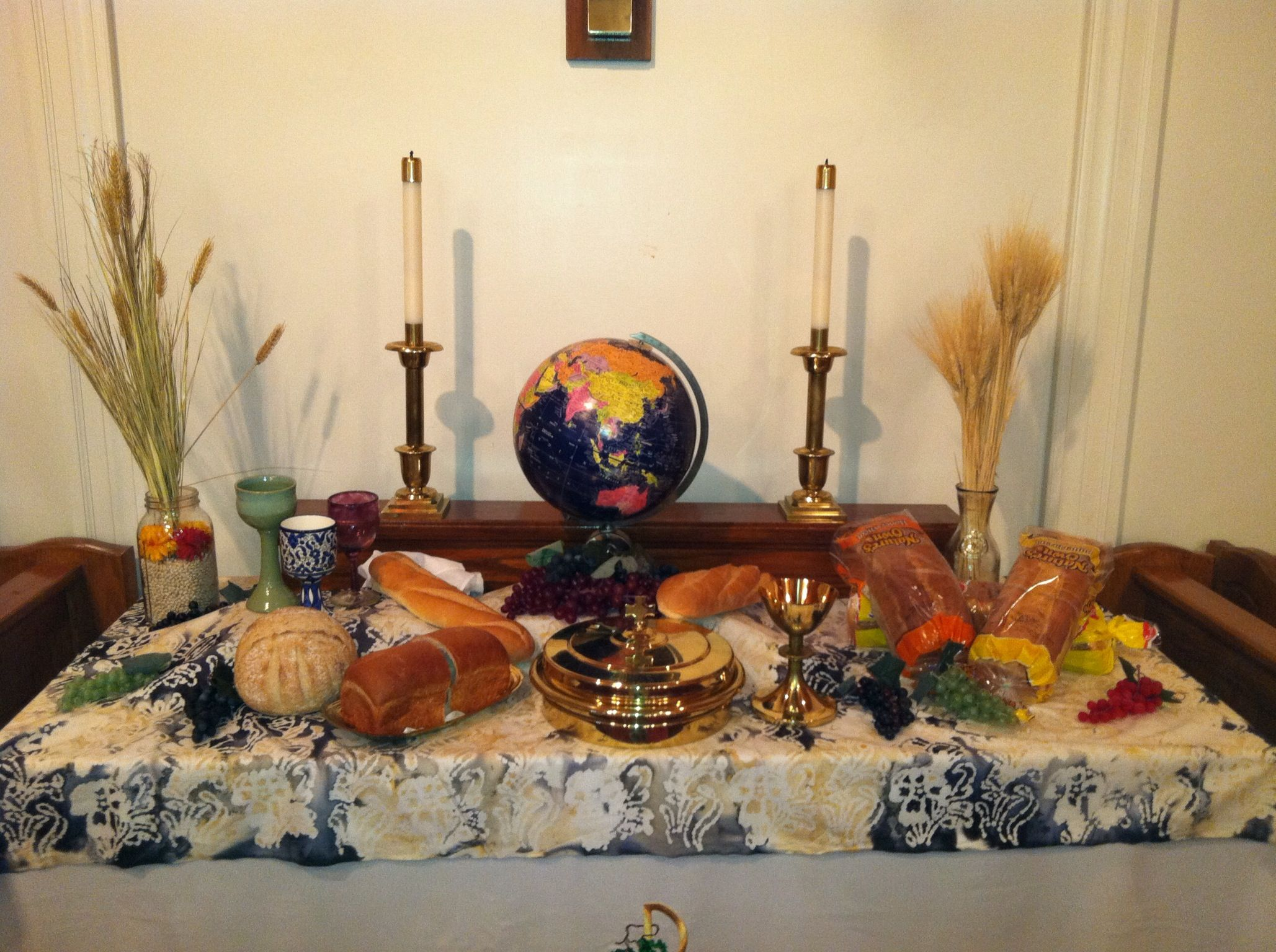 World communion sunday at christ umc worship pinterest for Altar decoration for first holy communion