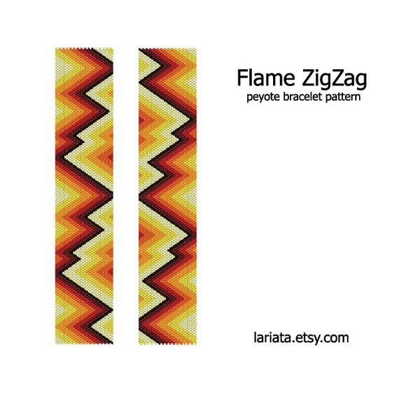Flame Zigzag  Peyote Bracelet Pattern  INSTANT DOWNLOAD by lariata, $5.99