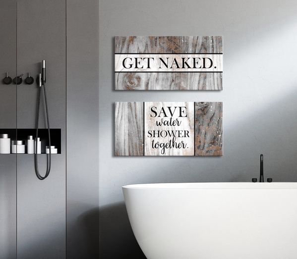 Bathroom Wall Art 2 Piece Funny Bathroom Wall Art Set Wood Frame Ready To Hang With Images Bathroom Wall Decor Art