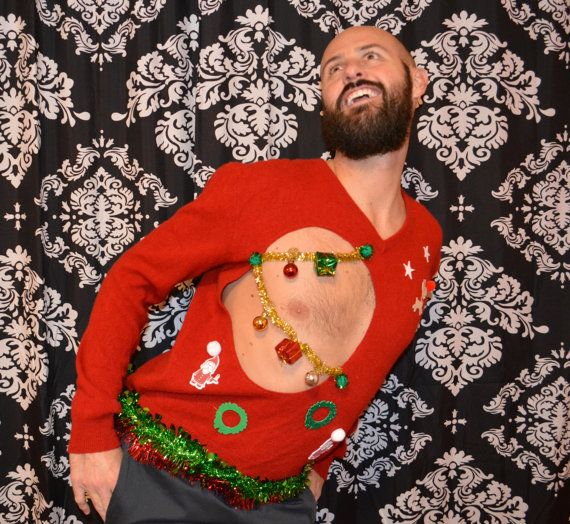Large Ugly Christmas Sweater Men Sexy Mens Chest Boob Ugly