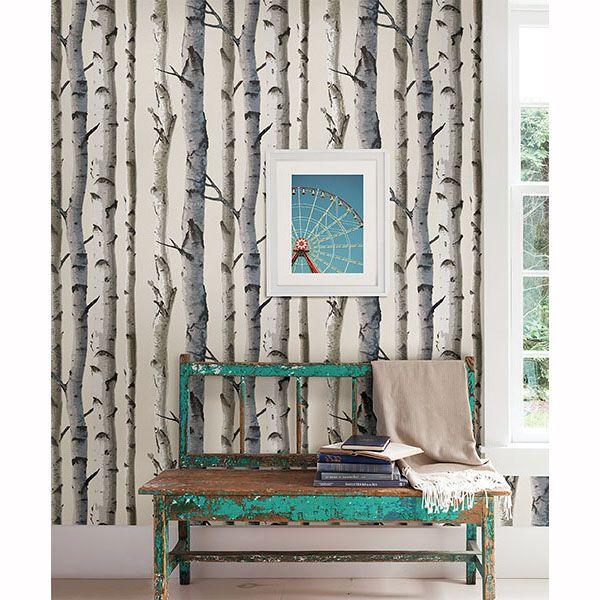 irvin grey birch tree wallpaper brewster grays lodge look