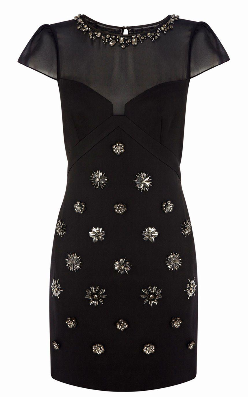 acb40114c2c5 Karen Millen DR090 Cap Sleeves Satin Brooch Beaded Dress