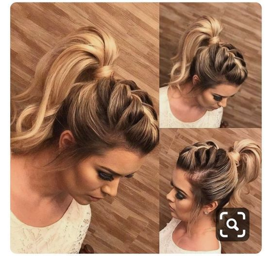 High Ponytail With Braid Cute Ponytail Hairstyles Braided Hairstyles Easy Braided Hairstyles Updo