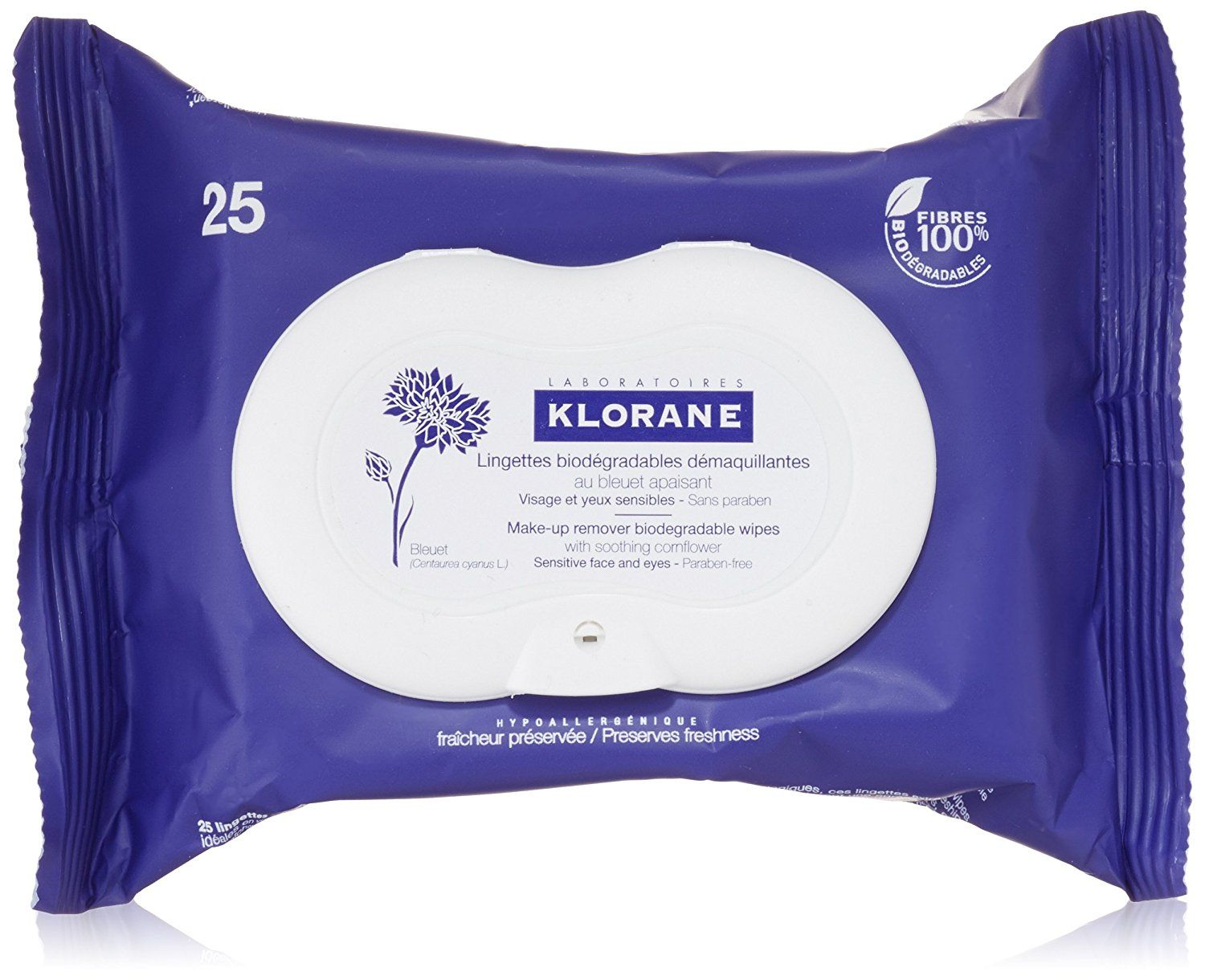 Klorane MakeUp Remover Biodegradable Wipes with Soothing
