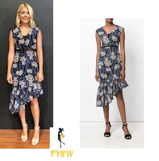 3942df4275cf Holly Willoughby style outfit blog This Morning blue floral print dress  white sandals July 2018 #HollyWilloughby #style #outfit #ThisMorning #blue  #floral ...