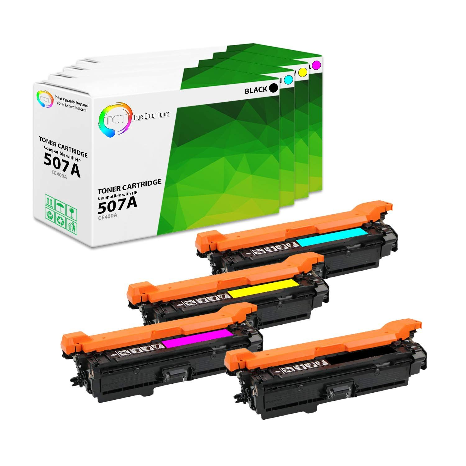 4 Pack Tct Compatible Hp 507a Replacement Toner Cartridge Replaces Oem Ce400a Ce401a Ce402a Ce403a Printer Compatibi Toner Cartridge Toner True Colors