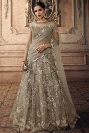 Grey Color Net Wedding Lehenga Choli With Beads Work Grey Color Net Wedding Lehenga Choli With Beads Work