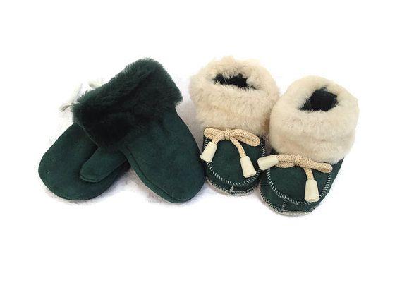 2af0337bb0c6 Shearling Mittens New Born Sheepskin Gloves Infant Boots Kids Boy ...
