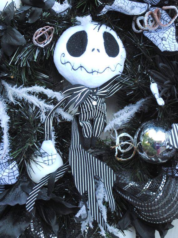 Halloween Wreath, Christmas Wreath, Nightmare Before Christmas Jack - tim burton halloween decorations