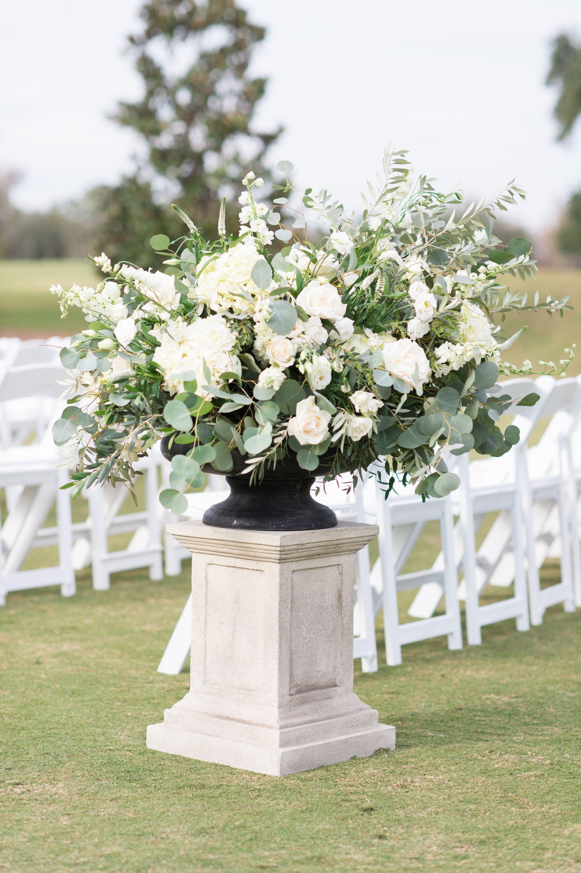 Large Outdoor Wedding Arrangement Of White Hydrangea White Lisianthus White Majo Outdoor Wedding Flowers Eucalyptus Wedding Decor Wedding Floral Centerpieces