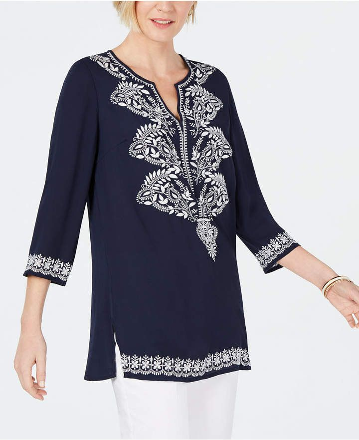 21d66811f0f Charter Club Petite Embroidered Tunic in 2019 | Products | Tunic ...