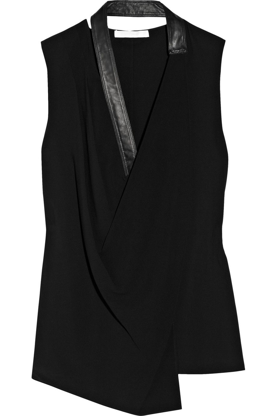 49b8e73388494 Leather-trimmed stretch-knit top by Alexander Wang