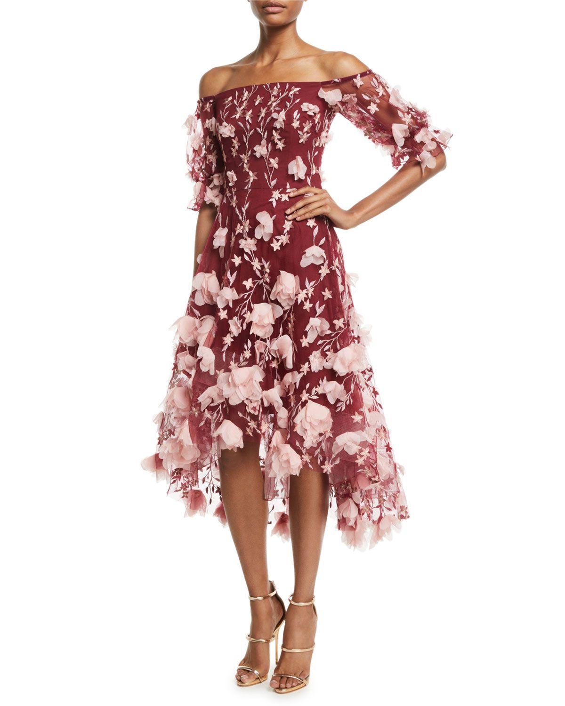 a51aeff1 Marchesa Notte Off-the-Shoulder 3D-Floral High-Low Cocktail Dress | Neiman  Marcus