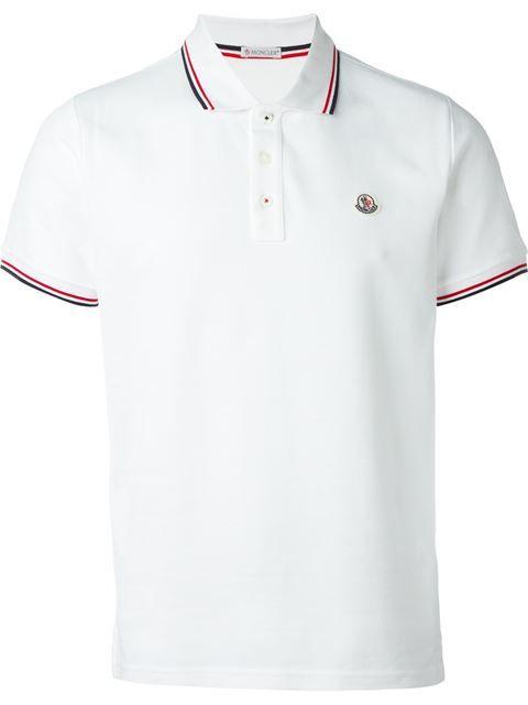 moncler polo navy white collar