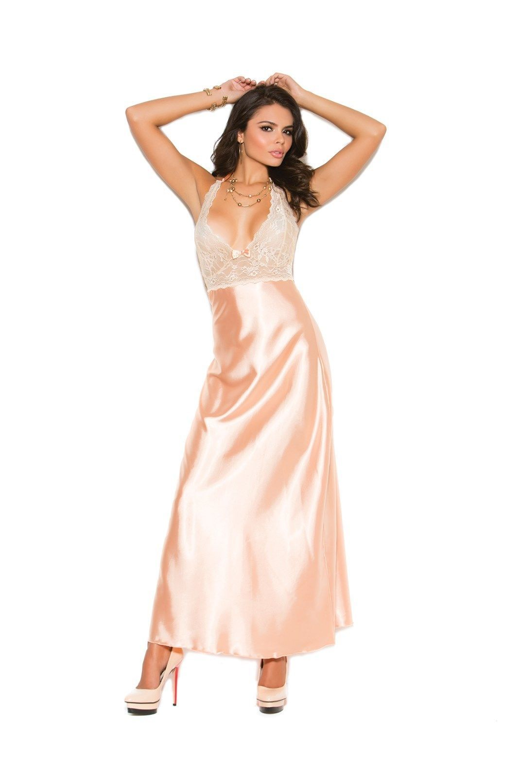 Satin Nightgown Long Peach Lace Solid Gown Halter S-3X Plus Elegant Moments 0d6ad550d