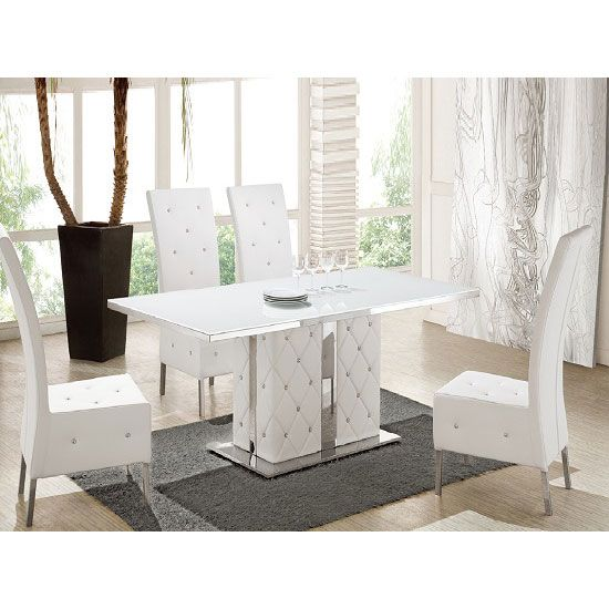 Levo Glass Top Dining Table In White Gloss With 6 Asam Dining Fair White Gloss Dining Room Table Design Decoration
