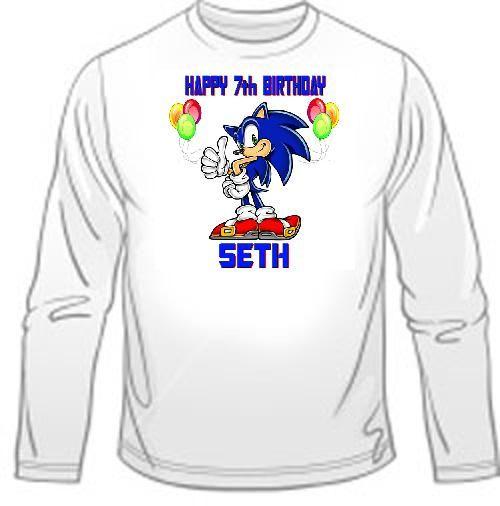 Sonic Birthday Shirt Sonic Birthday Birthday Shirts Long Sleeve Tshirt Men
