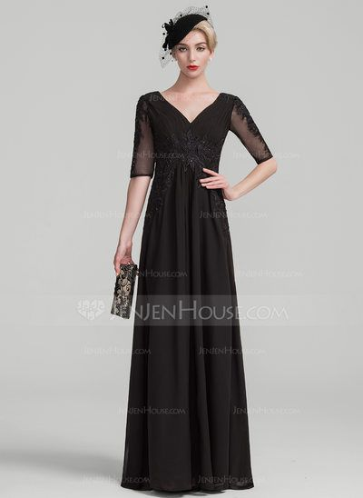 fb9c85a213f 164.31  A-Line Princess V-neck Floor-Length Chiffon Lace Mother of ...