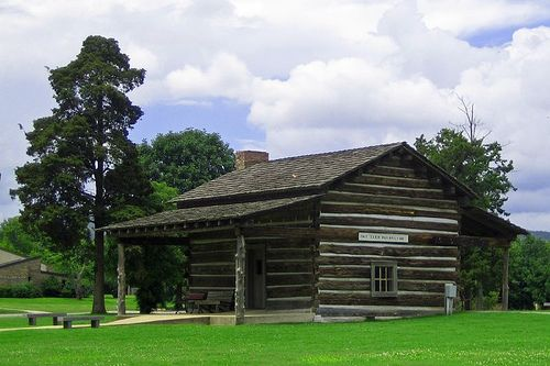 In Janssen Park (Mena, AR), Stands An 1851 Log Cabin Still On