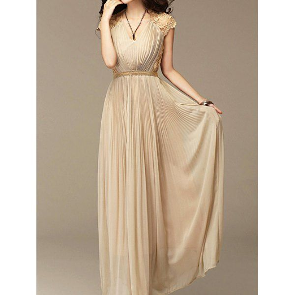 Bohemian V-Neck Embroidered Pleated Chiffon Dress For Women #lily