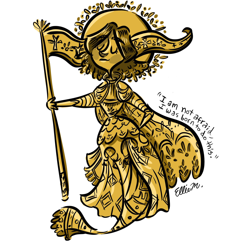 """""""Joan of Arc mermaid"""" mermay prompt @elliemation, ellie morlino, www.instagram.com/elliemation"""