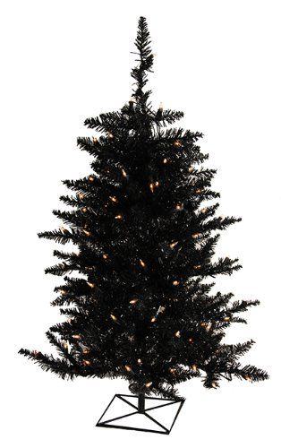 3 PreLit Black Fir Artificial Halloween or Christmas Tree Clear