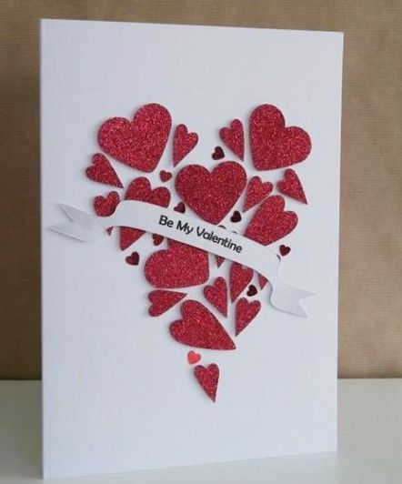 Use mini heart cutouts to make a giant heart flower cutouts to – Flower Valentine Card