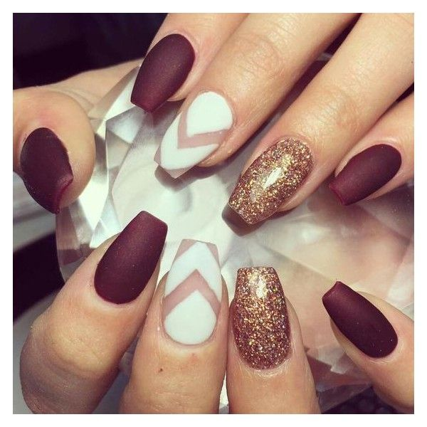 Maroon nails ❤ liked on Polyvore featuring beauty products, nail ...