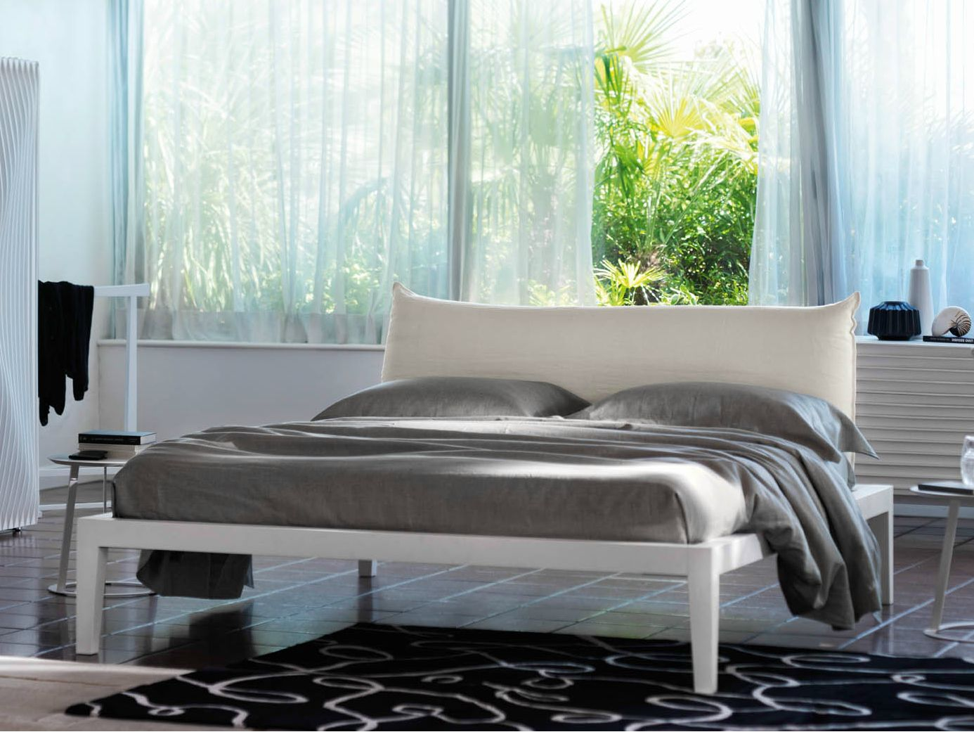 Double Bed With Upholstered Headboard Moheli Bo By Orizzonti Italia