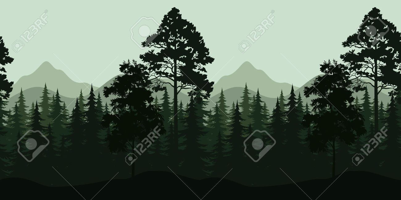 Seamless Horizontal Night Forest Landscape Trees And Mountains