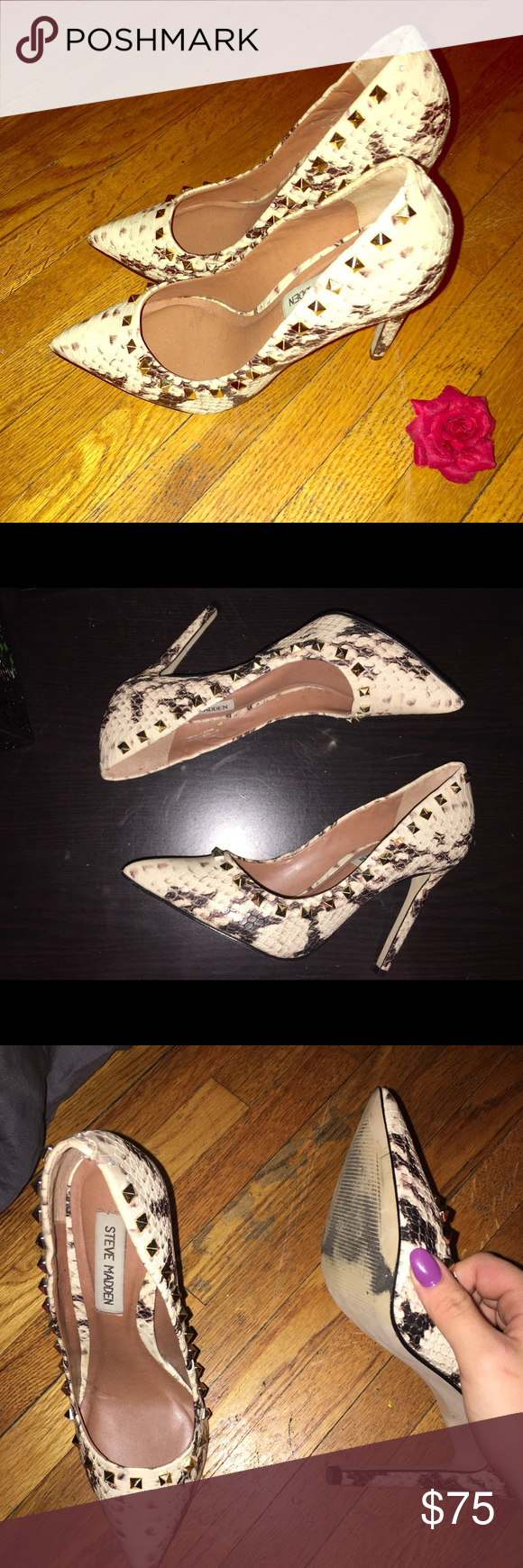 Steve Madden Snake Skin Rockstud Pumps These are a pair of fierce Steve Madden pumps with gold rockstuds, sort of Valentino inspired. These go great with jeans or dresses. Although the bottom sole looks very worn, if you look inside the shoe where it says Steve Madden, it's very clean and looks like they haven't been worn.  Open to all questions and offers Steve Madden Shoes Heels