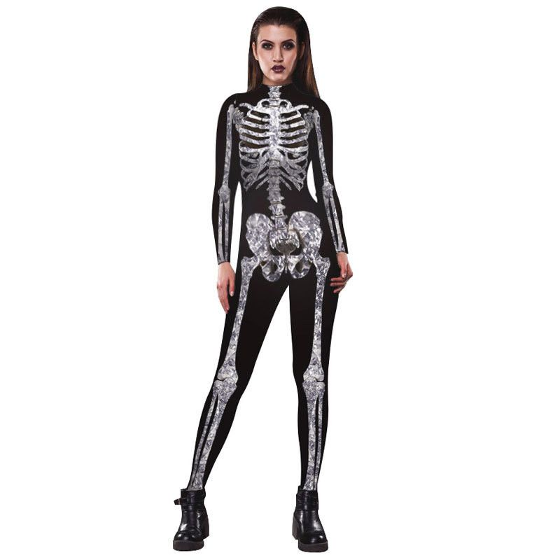 5b2b4f34dd5 Funny Scary Skeleton Print Matching Halloween Costumes for Women Cool  Siblings and Best Friends Cosplay Jumpsuits Plus Size S-XL  Plus Size  Halloween ...
