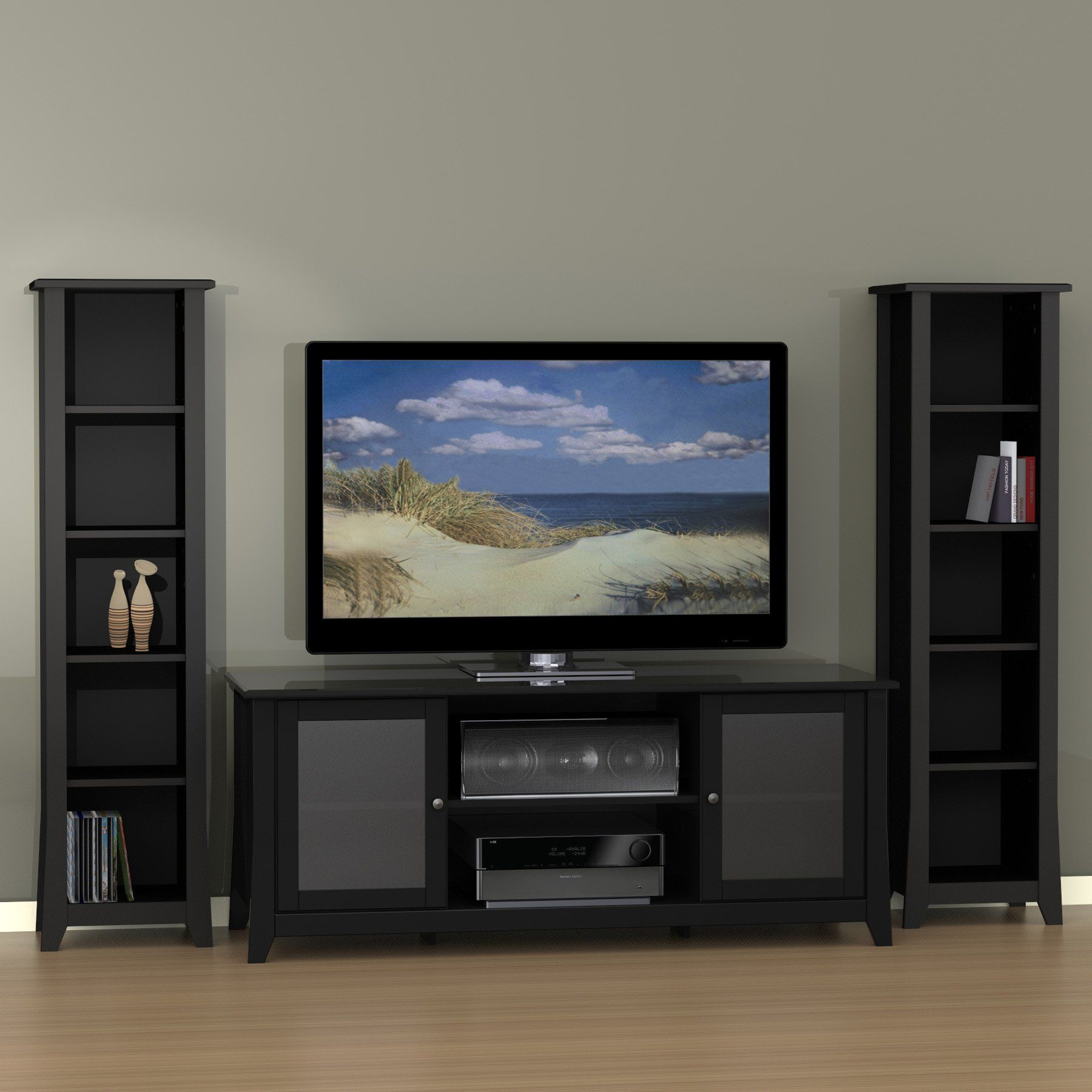 Have To Have It Megalak Finition Tuxedo 58 In Tv Console With 60  # Meuble Tv Brad