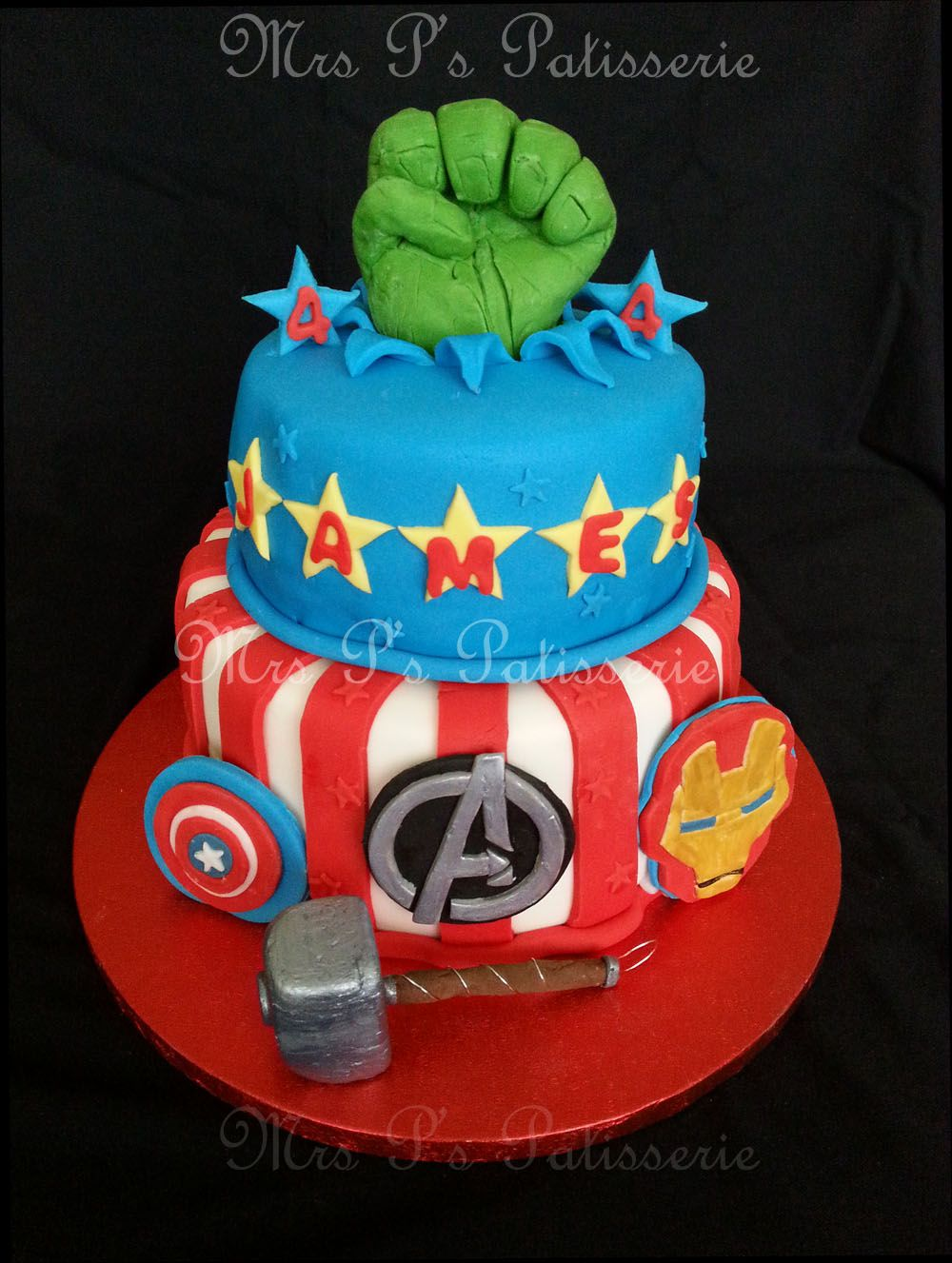 A twotier superheroes Avengers theme chocolate cake for my nephew