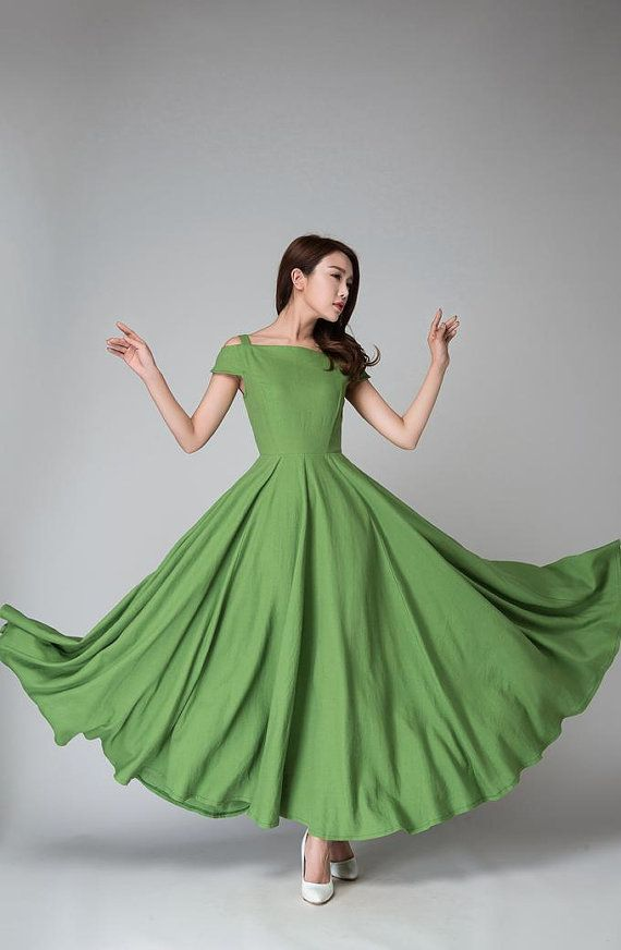 off shoulder dress, Green dress, full length dress, linen dress ...