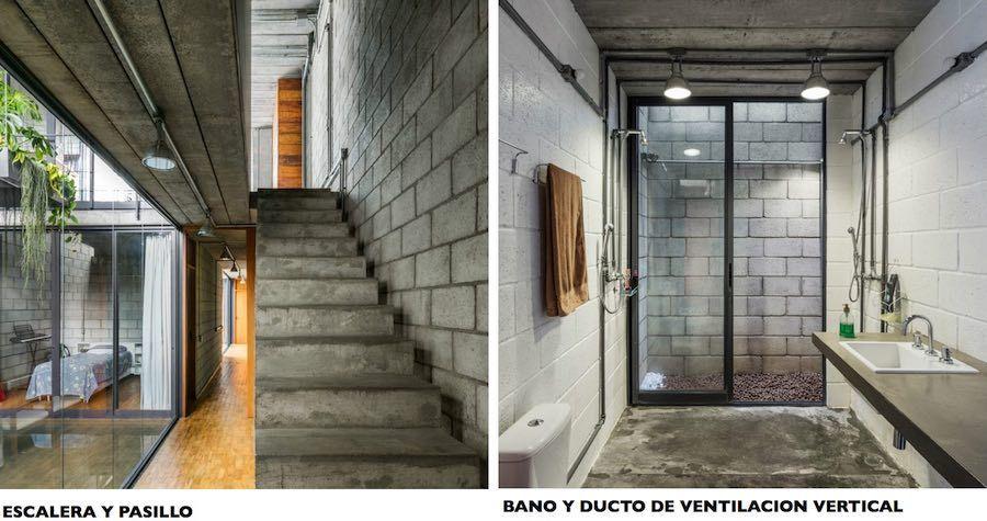 Construir una casa entre medianeras casa vero l pinterest for Escaleras largas