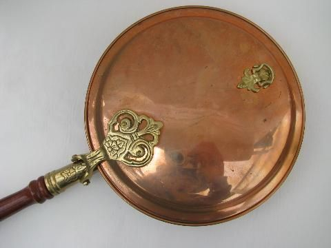 Vintage Copper And Brass Bed Warmer Warming Pan W Long Wood
