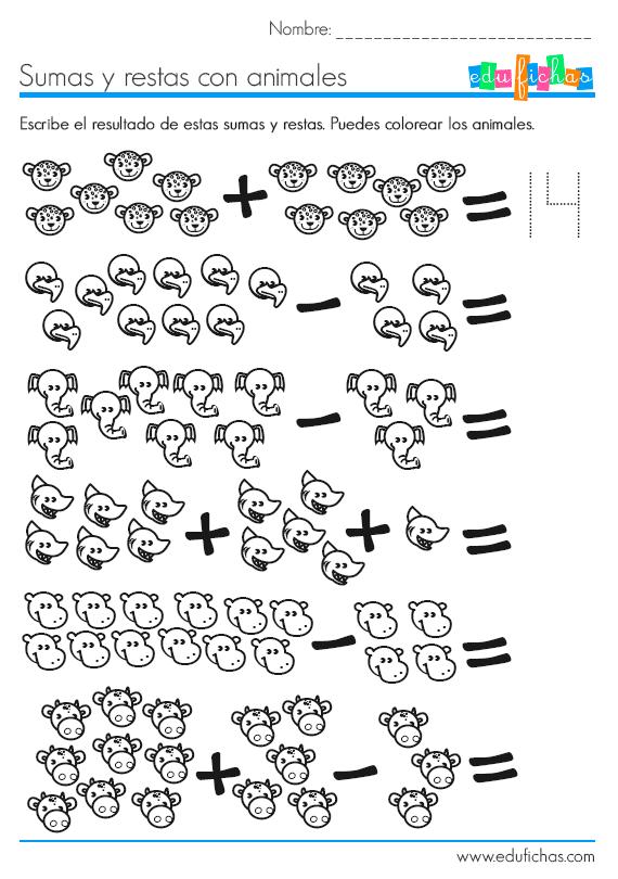 Ficha educativa de matemáticas con dibujos. Sumas y restas basicas ...