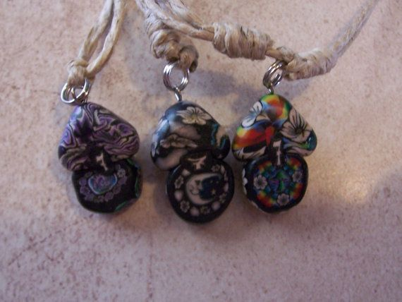 Hemp Fimo Mushroom Adjustable Necklace by Yourjewelryhut on Etsy