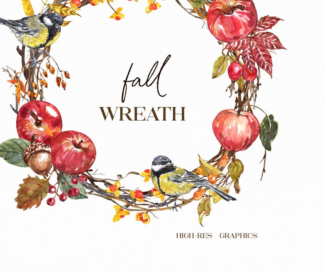 Fall Wreath Clipart Png Watercolor Autumn Birds Apples Leaves Etsy In 2021 Apple Clip Art Fall Leaf Wreaths Clip Art